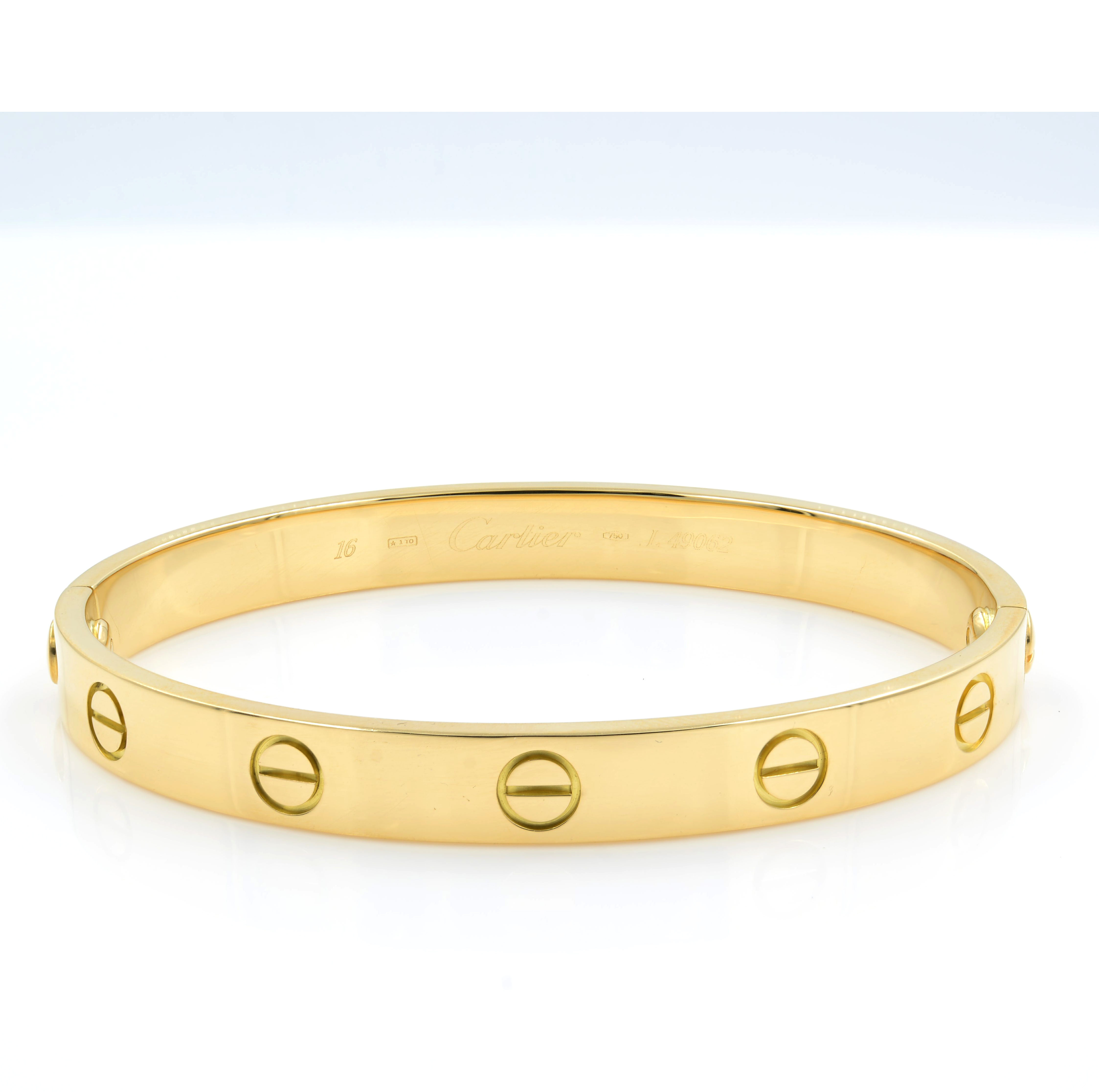 Image Is Loading Cartier Love Bracelet Size 16 18k Yellow Gold