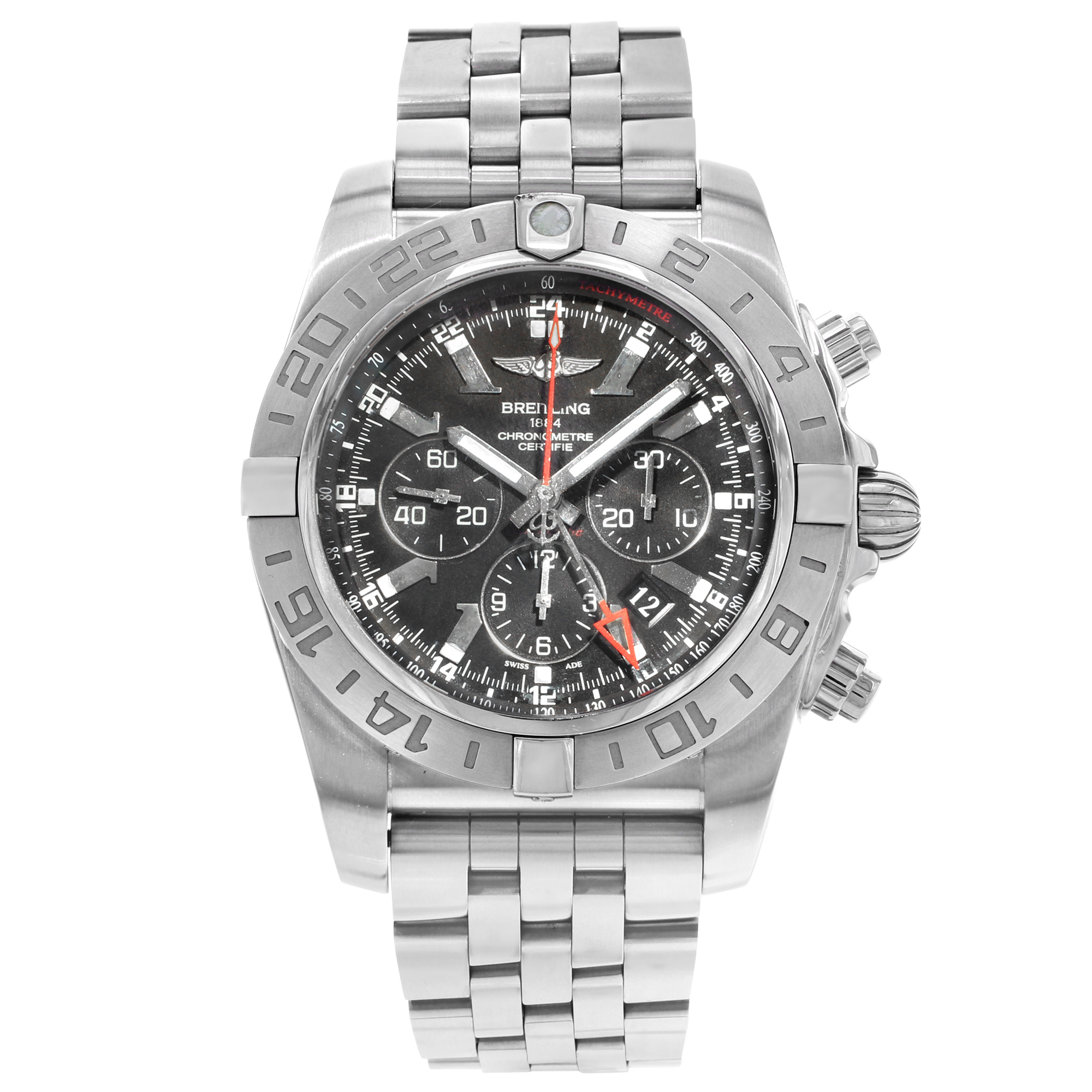 c86b05793d2 Breitling Chronomat GMT Black Dial Steel Automatic Mens Watch  AB041210 BB48-384A