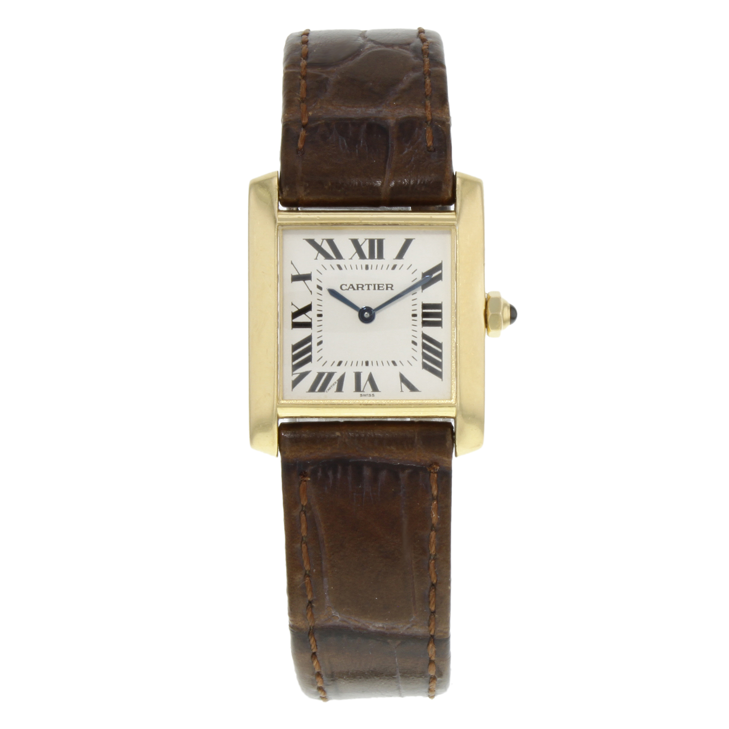 cartier francaise watches stainless diamond watch aise fran ladies steel tank