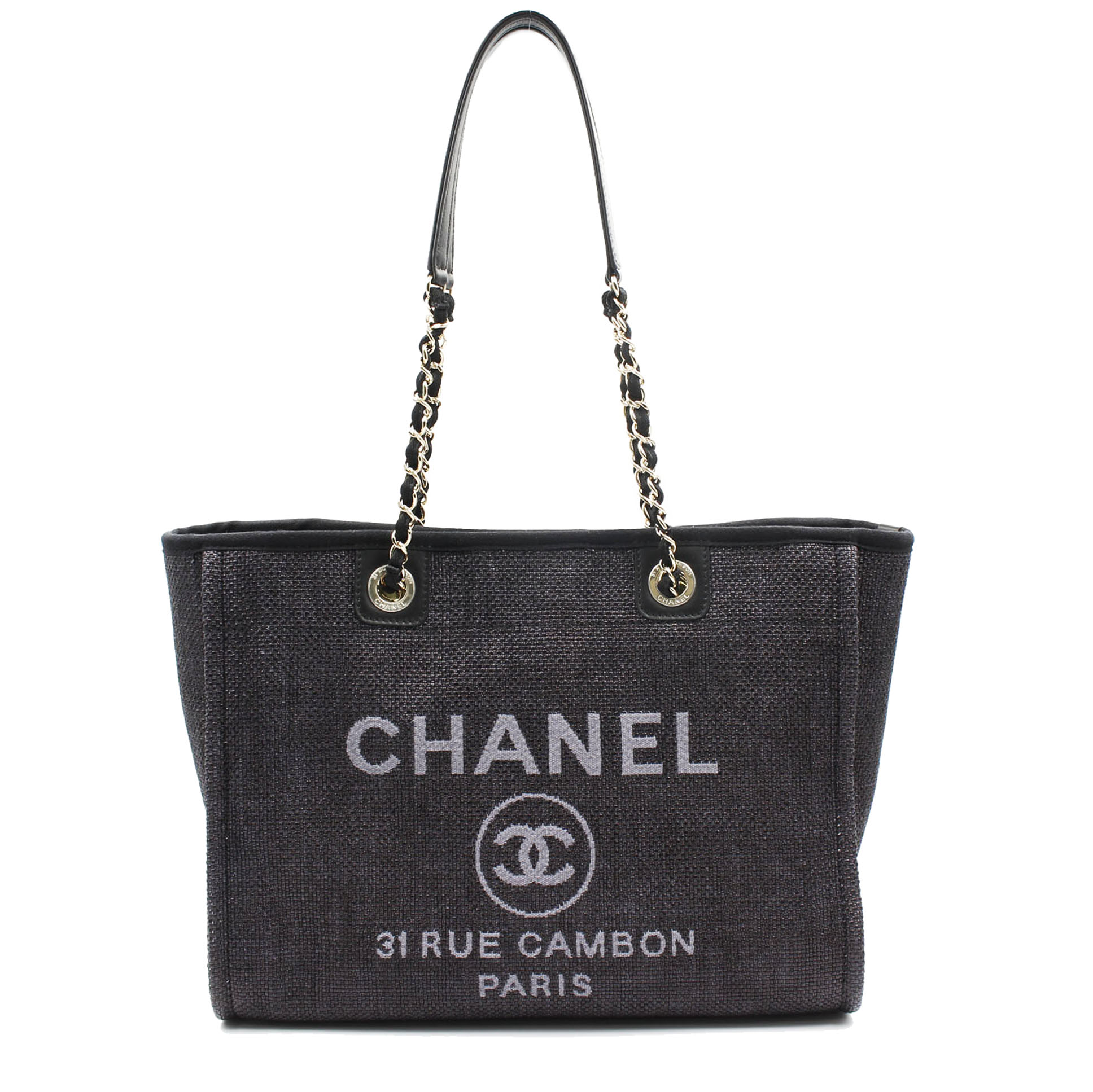 Chanel Deauville MM 35cm Denim Chain Shoulder Black Canvas Tote Bag A67001 9bea6ae42d