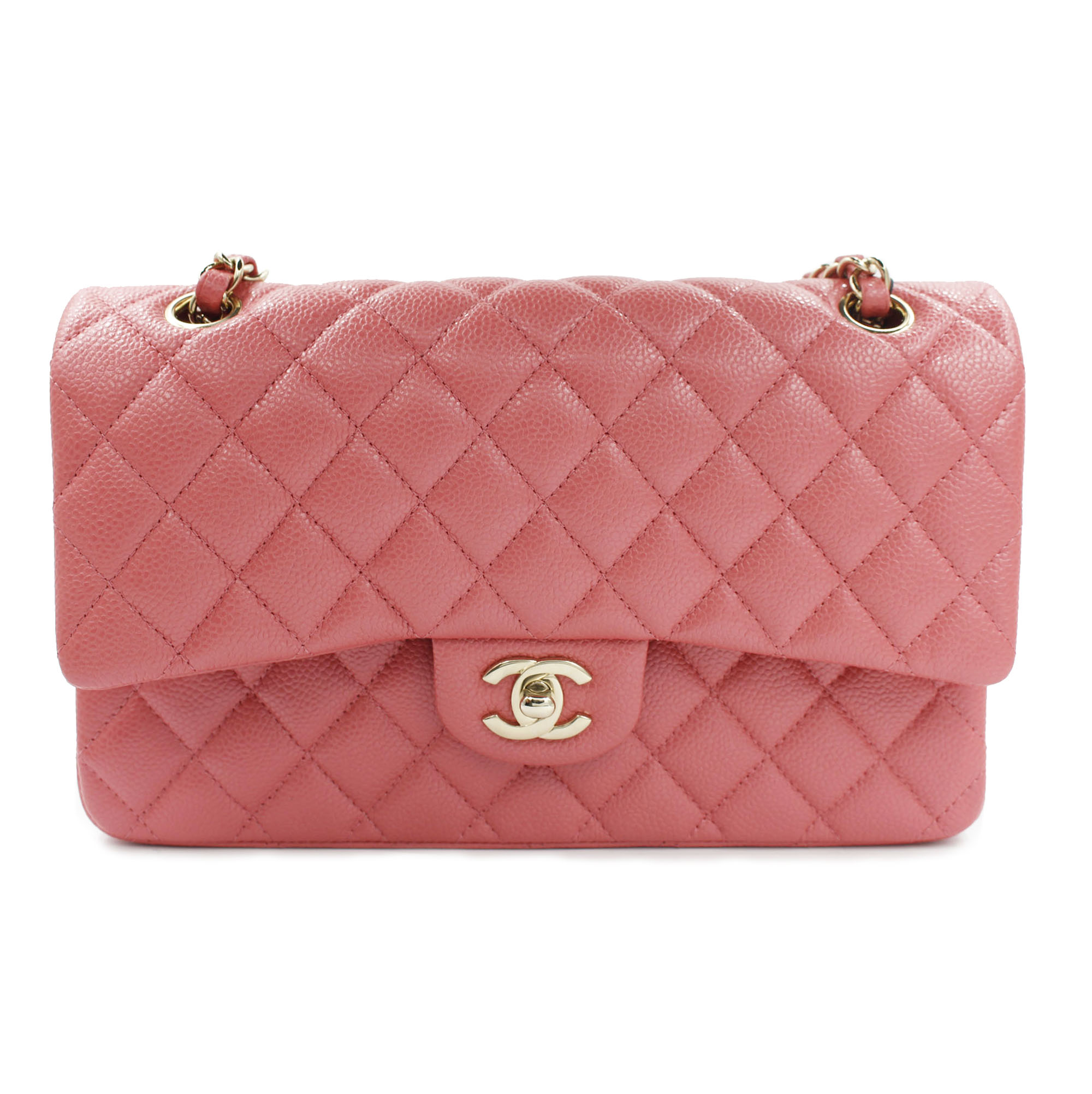f9df4614aa1d Chanel Shiny Pink Quilted Caviar Medium Classic Double Flap Bag A01112Y83470