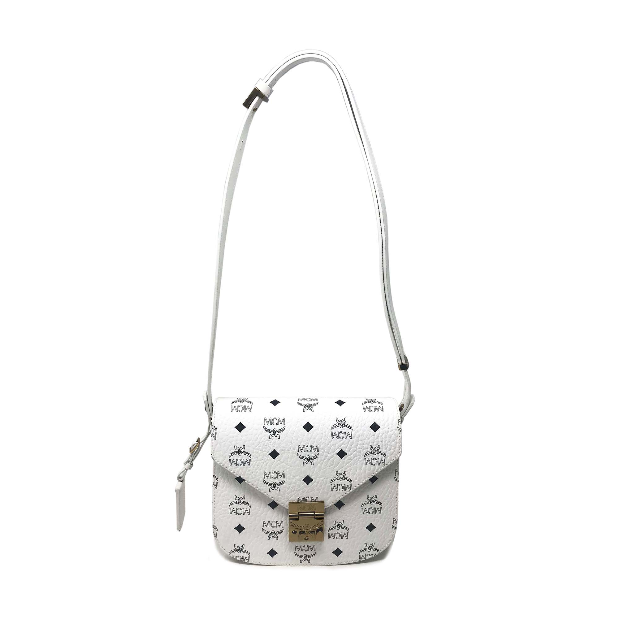 c478024f4f16 Details about MCM Small Patricia In Visetos In White Ladies Shoulder Bag  MWS6SPA03