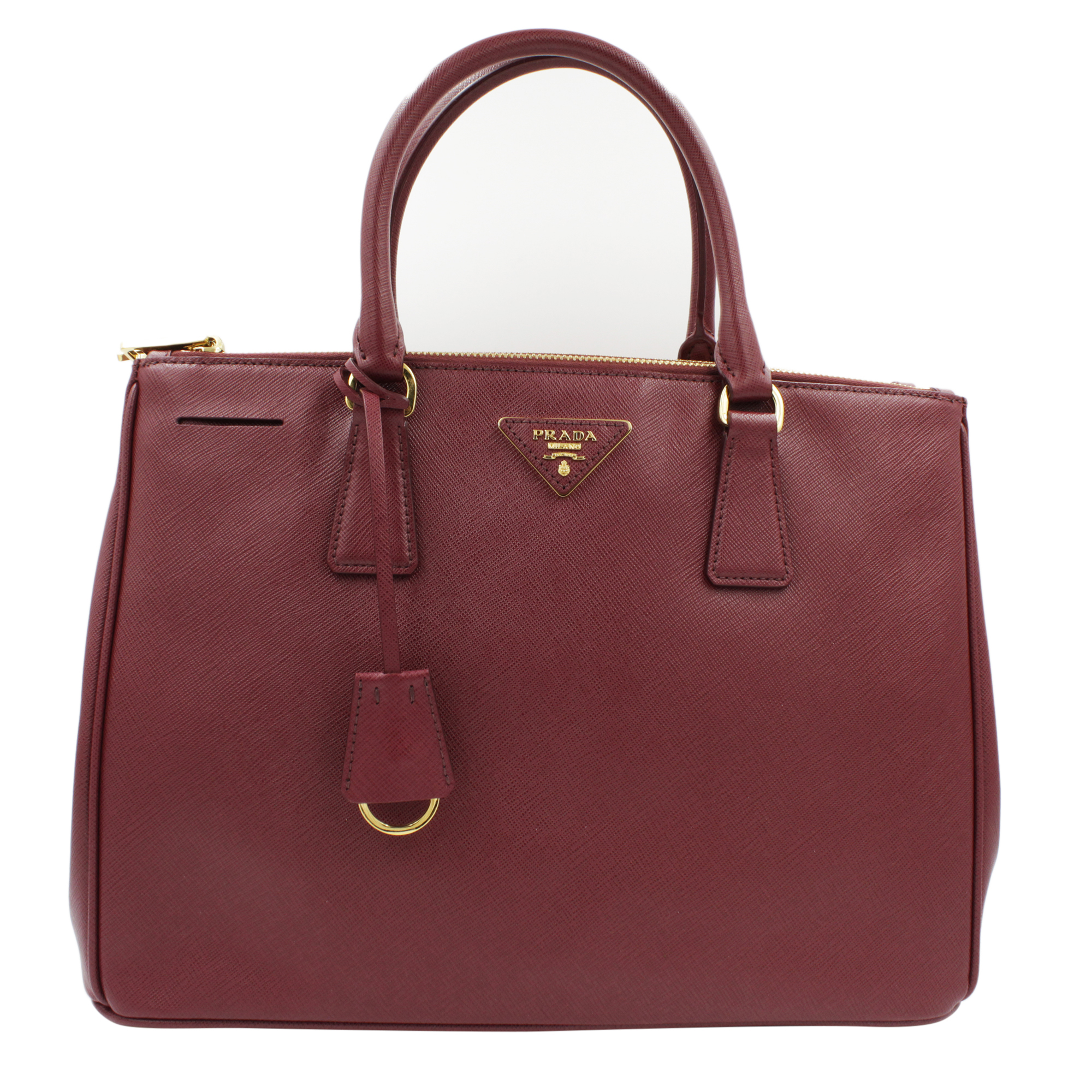 7a2106313250 Details about Prada 1BA274 Galleria Cherry Saffiano Leather Women s  Convertible Tote Bag