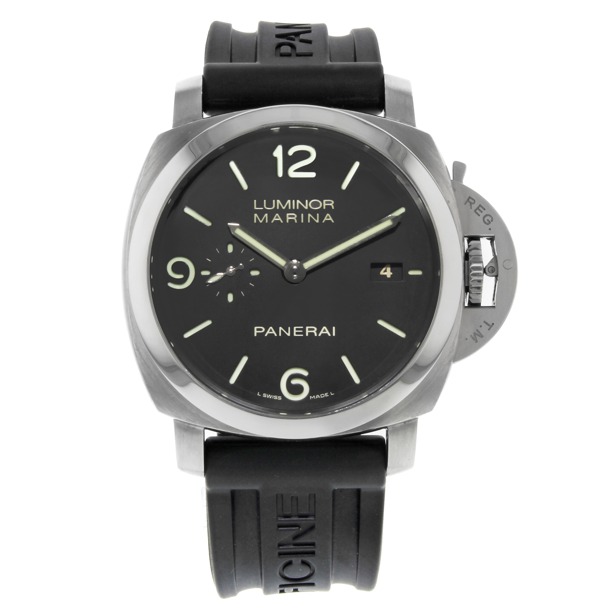 e23d0b45a2f Panerai Luminor 1950 Black Arabic Sticks Steel Automatic Mens Watch PAM00312