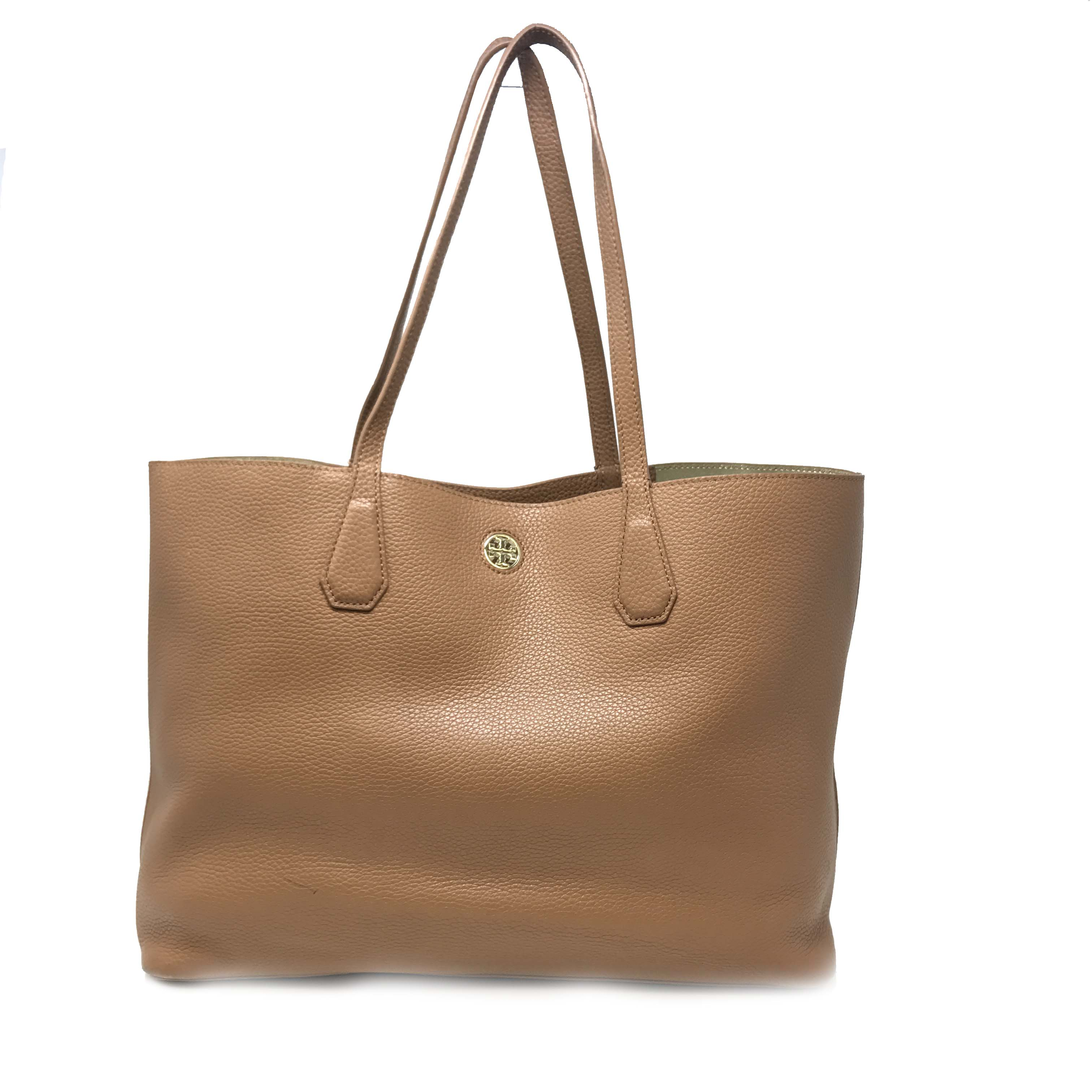 2e0e163c2311 Details about Tory Burch Bark Light Gold Pebbled Leather Perry Tote Women s  Bag